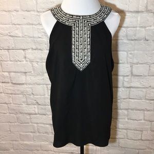 Nicole Miller Black white embroidered tank
